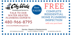 FREE Complete Residential Home Plumbing Inspection with any purchase. $200 value